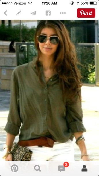 df48a93abcf0a blouse olive green loose tucked in button up blouse