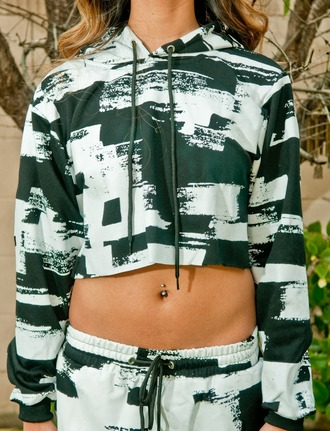 jacket crop tops long sleeve crop top sweater crop top sweater abstract print