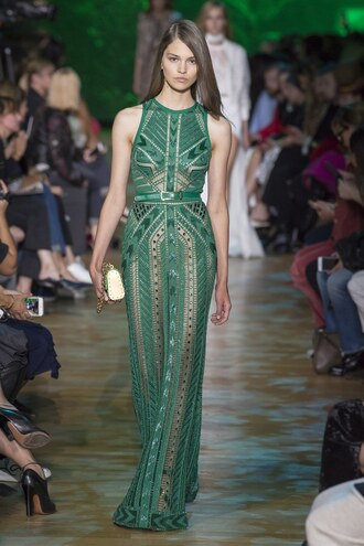 dress gown prom dress green green dress runway paris fashion week 2017 model elie saab see through