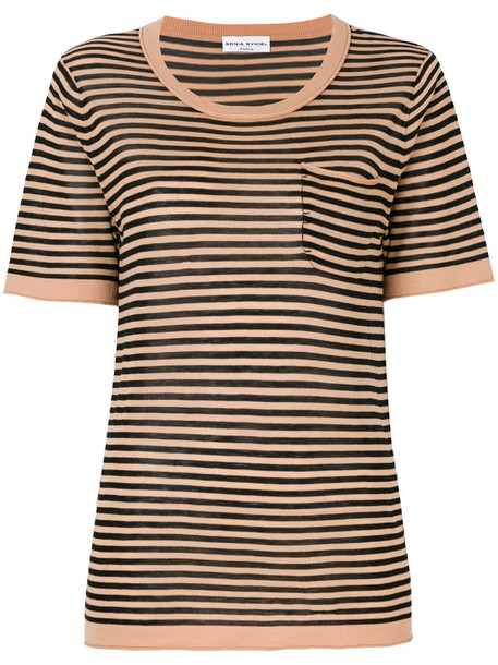 Sonia Rykiel - striped T-shirt - women - Silk/Cotton - XS, Black, Silk/Cotton