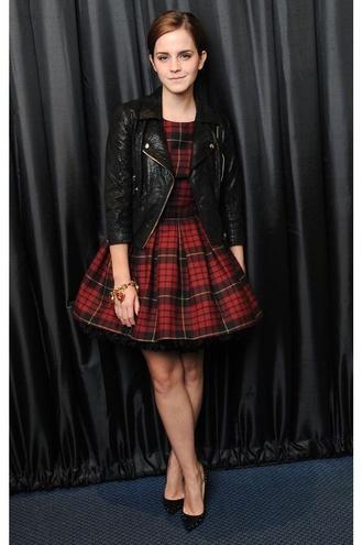 dress emma watson leather jacket plaid red jacket