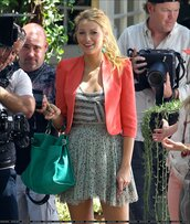 orange jacket,jewels,green bag,blake lively,skirt,jacket,bag,shirt