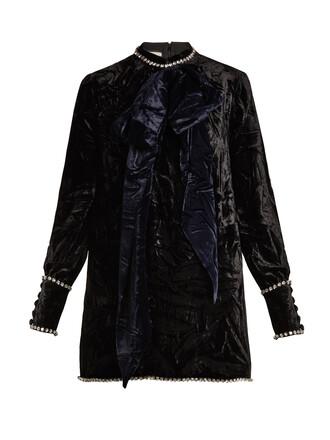 top velvet top bow embellished velvet black