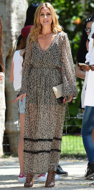 dress maxi dress olivia palermo blogger sandals summer dress black and white floral dress shoes long sleeved maxi dress