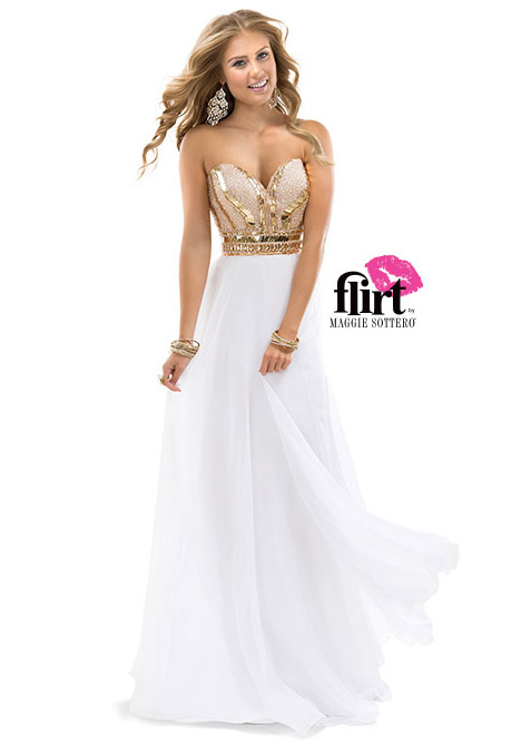 Strapless Gold And White Prom Dresses - Missy Dress