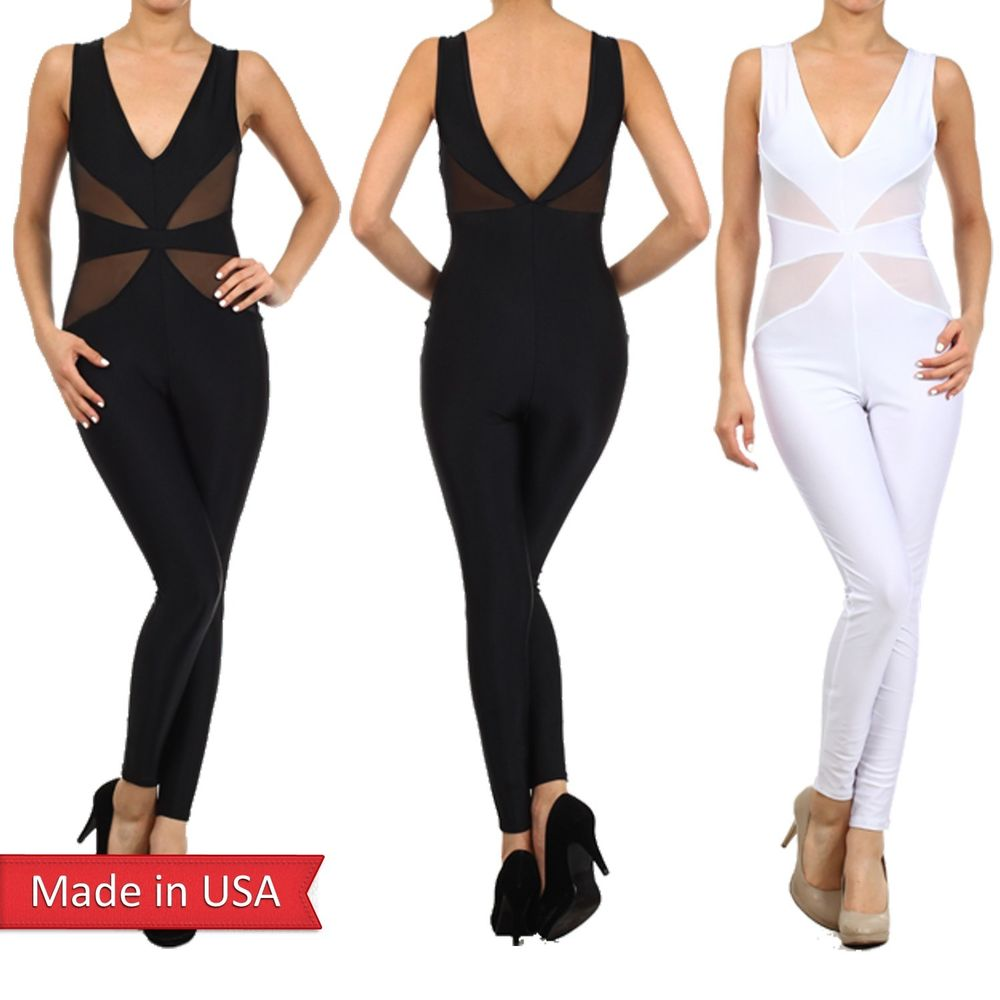Women Mesh Waist Panel Detail V Beck Sleeveless Jumpsuit Romper Pants Jumper USA