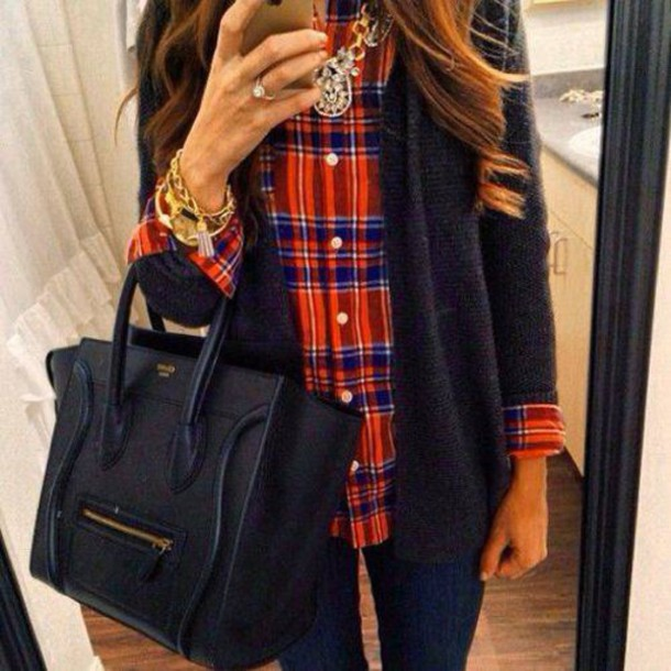 shirt blue bags 2014 necklace jewelry brunette curly hair plaid shirt flannel shirt
