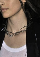 silver,grey jewels,jewels,necklace,grunge,goth,punk,stud,spine,thorns