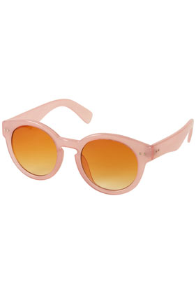 Pink curved flat top sunglasses