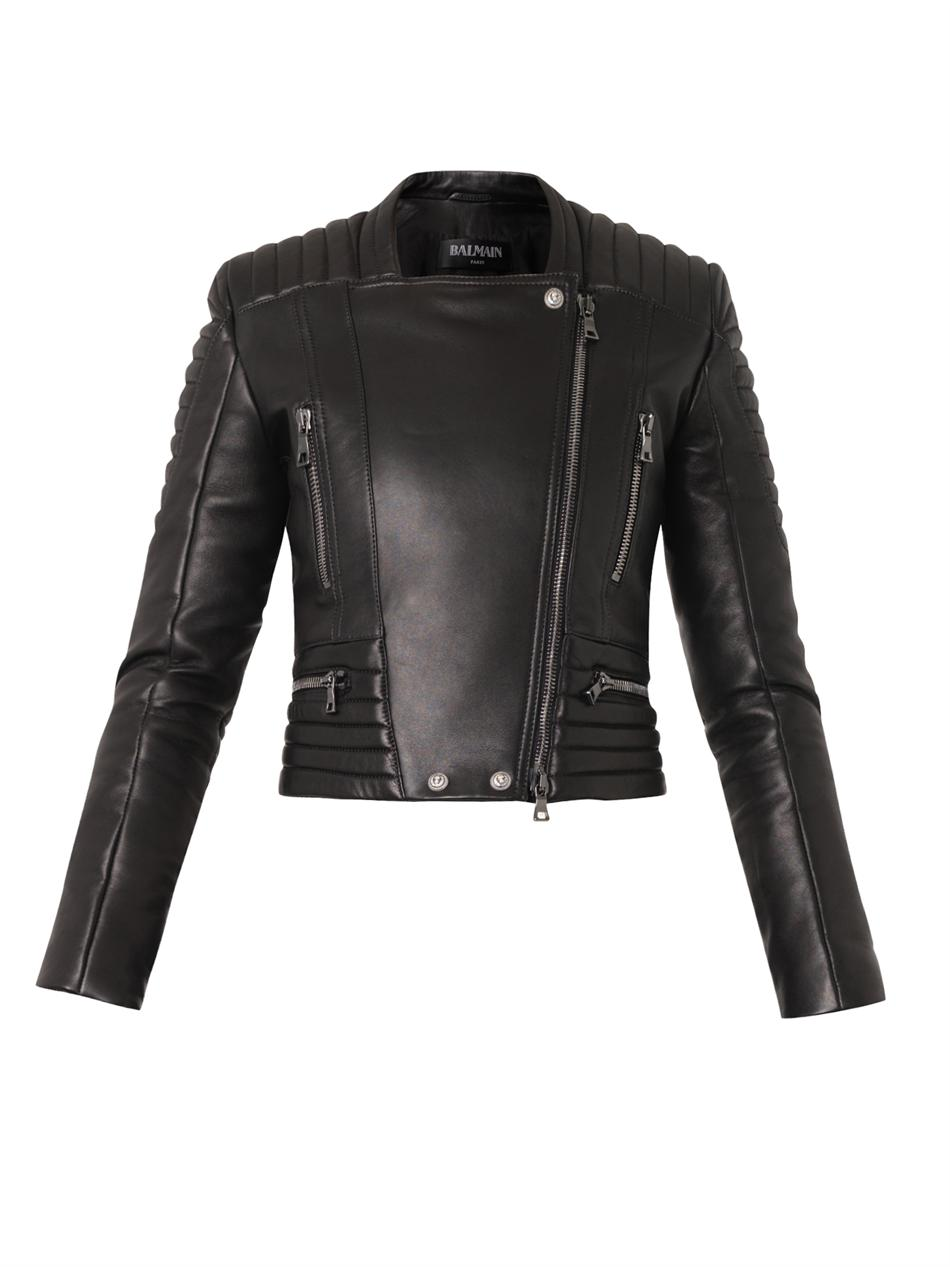 Quilted leather biker jacket | Balmain | MATCHESFASHION.COM