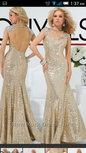dress,prom dress,formal dress,tony bowls,sparkly dress,long dress,long prom dress,open back,jewels,beauiful dress,sleeve dress,gold dress,gold prom dress