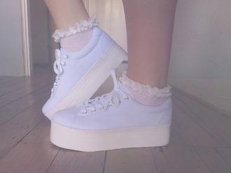 shoes pastel purple pale creepers lace socks ruffle soft grunge pastel goth cute kawaii periwinkle platform shoes flat forms kawaii grunge pastel grunge blue pastel creepers white high soles
