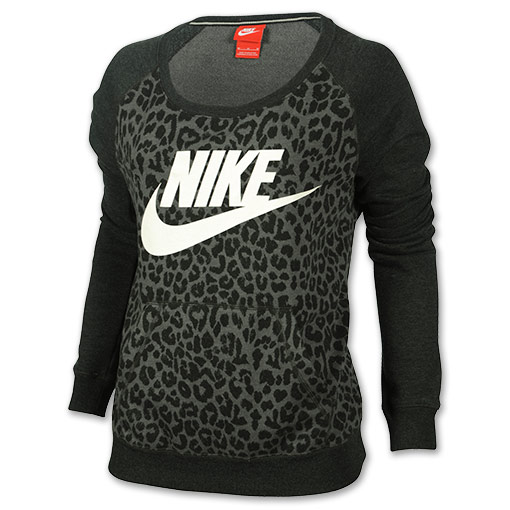 Women's Nike Rally Cheetah Crew Sweatshirt | Finish Line | Black