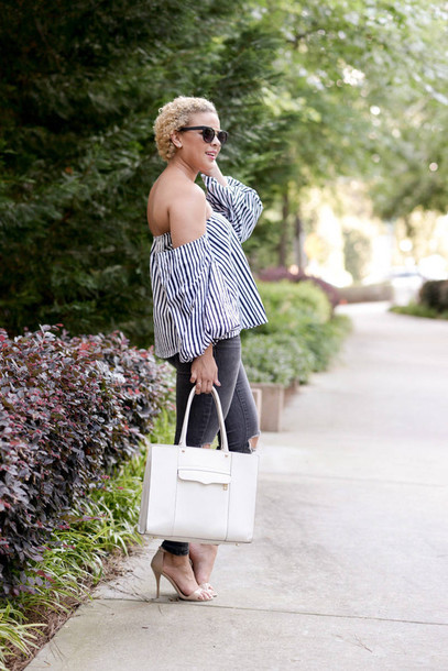 b34e87d08e2 fashionably lo blogger top jeans shoes bag jewels sunglasses striped off  shoulder top stripes striped top