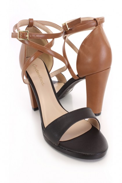 Black Tan Two Tone Single Sole Heels Faux Leather