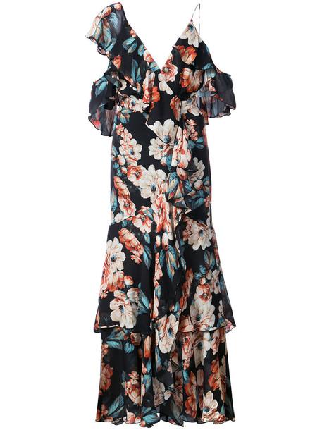 Nicholas dress print dress women floral print black silk