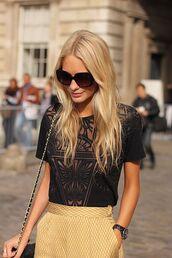 t-shirt,floral,burnout,black,top,skirt,yellow,chevron,retro,pattern,pencil skirt,shirt,blouse,lace,cut-out,lace detail,poppy delevingne,black skirt,transparent shirt