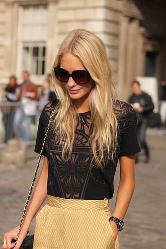 t-shirt floral burnout black top skirt yellow chevron retro pattern pencil skirt shirt blouse lace cut-out lace detail poppy delevingne black skirt transparent shirt