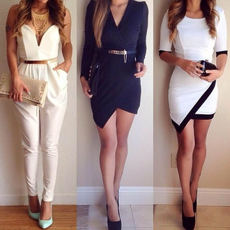 jumpsuit party dress blue dress white dress white jumpsuit awesome necklace necklace sexy dress belt jewels gold necklace jewelry classy classy. fashion\ one on the right sleeves mid-sleeves asymmetrical dress dress