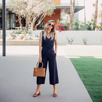 jumpsuit tumblr blue jumpsuit cropped jumpsuit flats sandals flat sandals bag sunglasses shoes
