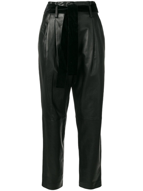 pants leather pants pleated high women leather black
