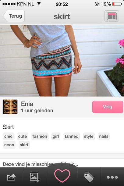 skirt hipster skirt aztec skirt