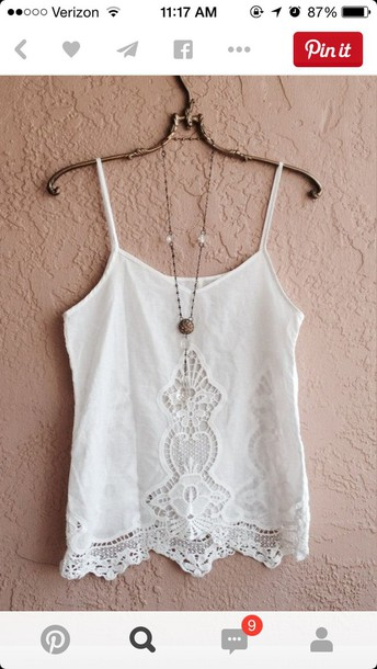 shirt blouse tank top white lace top white spaghetti strap pattern