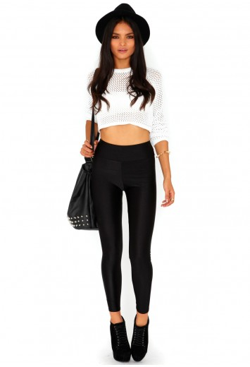 Frenchy shiny disco leggings in black