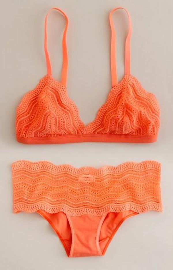 swimwear swimwear girl orange summer cute wavy peach spring colors bikini