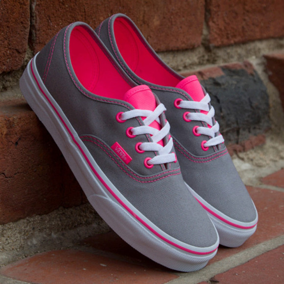 shoes vans pink and grey vans of the wall grey pink sneakers bag pink and grey skirt pink white and gray shoes vans weheartit where to get these shoes grey hot pink vans grey summer outfits vans of the wall