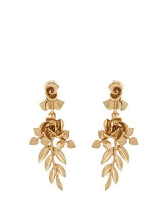 rose earrings gold jewels