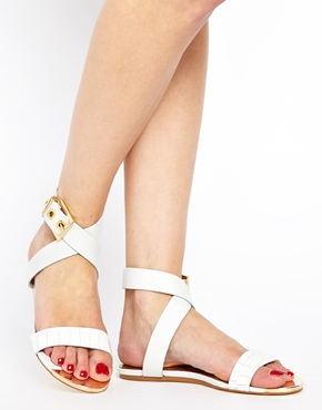 Ted Baker | Ted Baker Tabbey White Leather Flat Sandals at ASOS