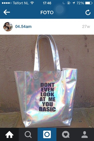 bag shiny quote on it