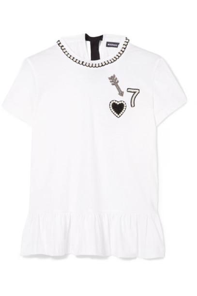 Markus Lupfer t-shirt shirt t-shirt heart arrow embellished white cotton top