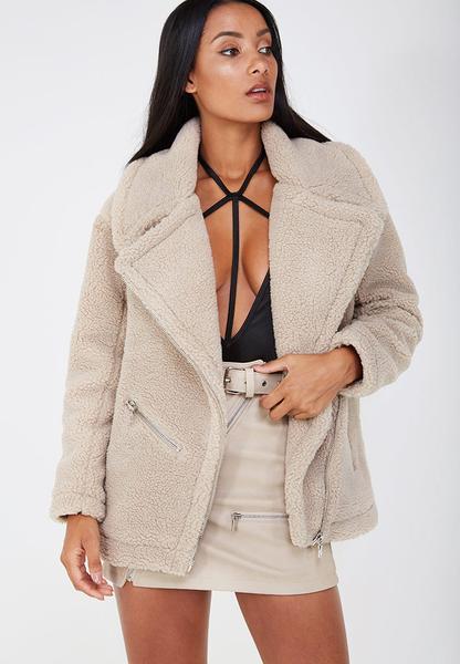 Oversized Teddy Fleece Jacket - Beige