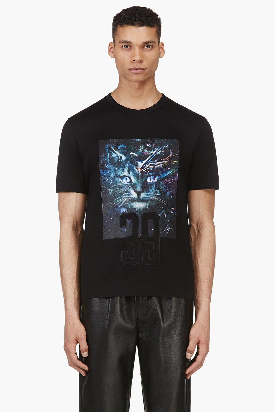 Juun.j ssense exclusive black and green cosmic cat t_shirt