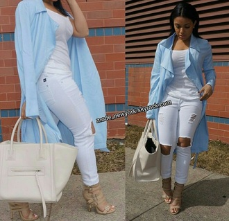 blouse blue swear outfit