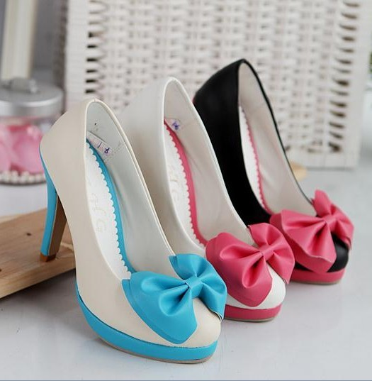 real rushed casual pu rubber round toe thin heels spring bow ...