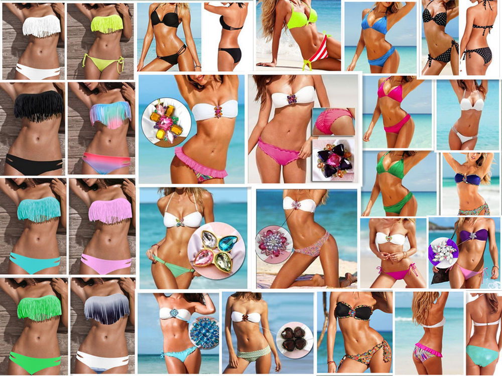 Sexy Tassel Bikini Halter Swimwear Bathing Bandeau Fringe Halterneck Swimsuit | eBay