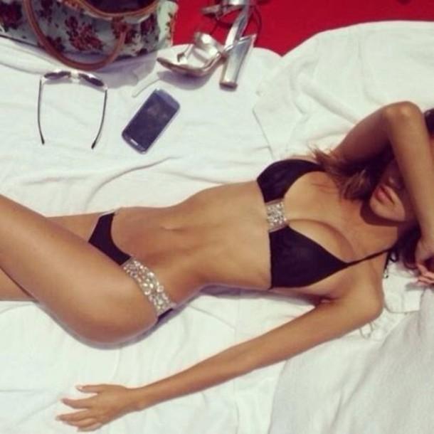 swimwear black bikini sparkle diamonds cute summer