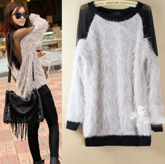 sweater pull white pullover black beautiful fur