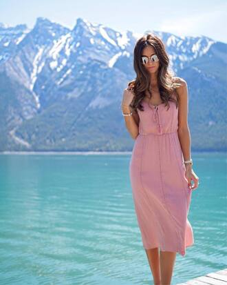 dress tumblr midi dress slip dress pink dress sunglasses mirrored sunglasses