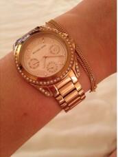 jewels,watch,gold,gold rose,designer,michael kors