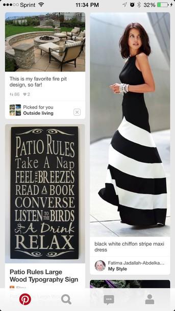 dress black and white strip maxi dresss