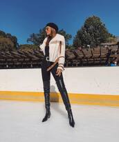 jacket,faux fur jacket,pants,skinny pants,thigh high boots,black boots,belt,black blouse,beret