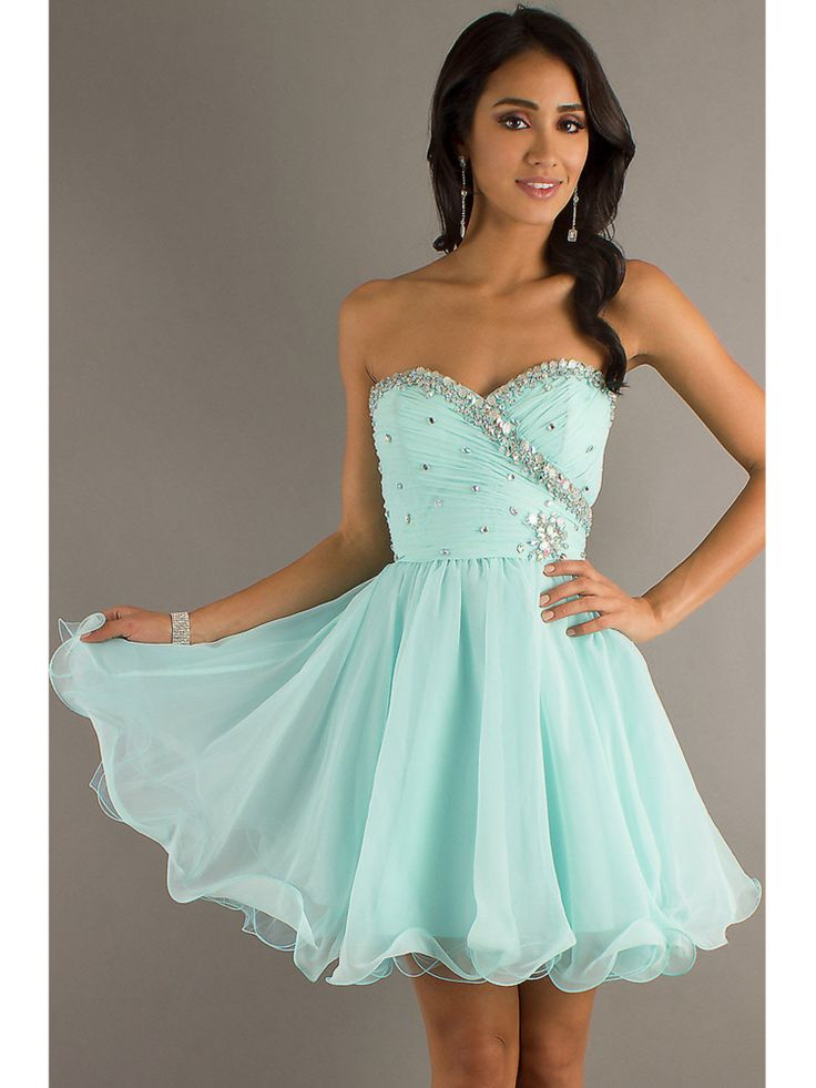 of Sweet Light Sky Blue Sweetheart Mini Prom Dress | Elegant Prom ...