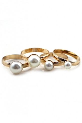 jewels stackable ring faux pearl ring ring set gold rings