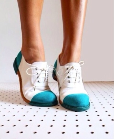 shoes teal white oxfords oxford flats teal and white