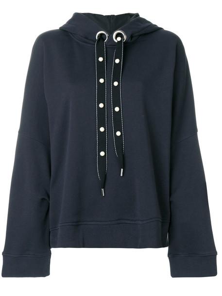 hoodie women pearl cotton blue sweater