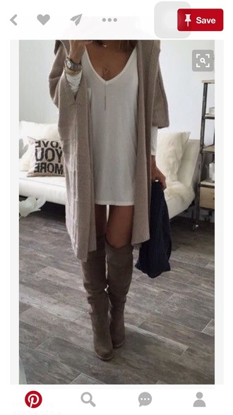 shoes knee high white dress cardigan fall outfits fall sweater fall accessories accessories cute